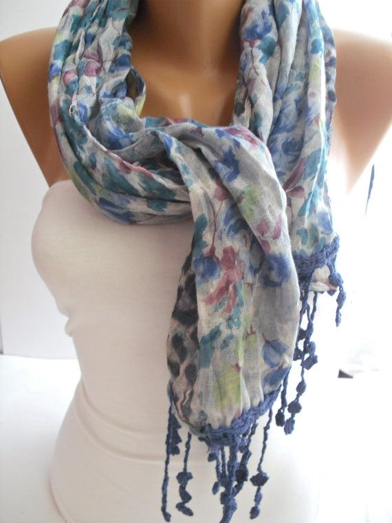 Leopard/Floral Elegance Shawl/Scarf with Lacy Edge by DIDUCI, $19.90