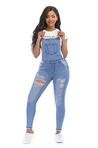 91b1f55295e POPTIME Women s Jeans Jumpsuit Long Denim Ripped Distressed Trousers  Overalls Strap Jeans Jumpsuits