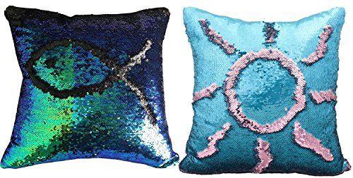 2pcs Diy Magic Reversible Sequins Mermaid Pillow Cases Throw