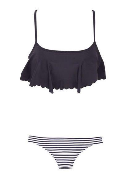Scallop swim top and striped bottoms