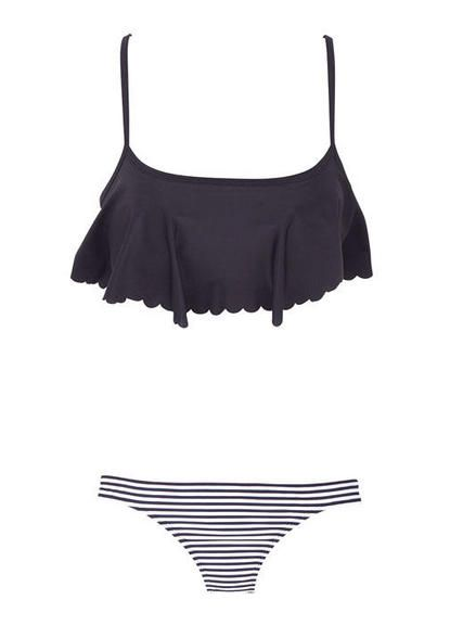 Scallop swim top and striped bottoms. I have the top just need the bottoms! Billabong top. Or roxy. I forget.