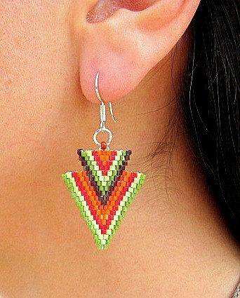Seed Beaded Earrings Native American Design 2 by HANWImedicineArt