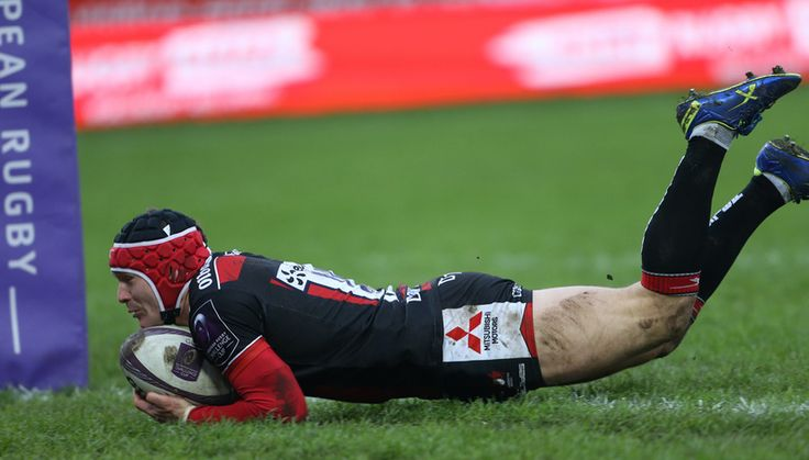 Gloucester Rugby vs La Rochelle - in pictures : News   Rob Cook Scoring Gloucester Rugby   Official Site