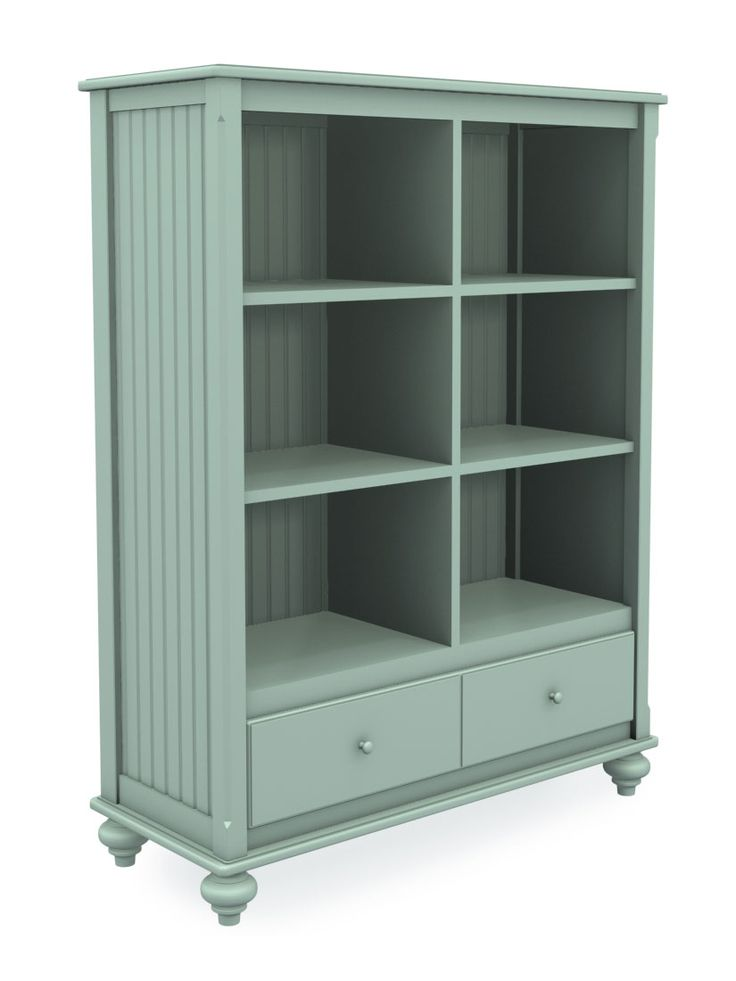 Cottage Wide Bookcase with Drawer, Six Cubbies, Turned Bun Foot, Seafoam