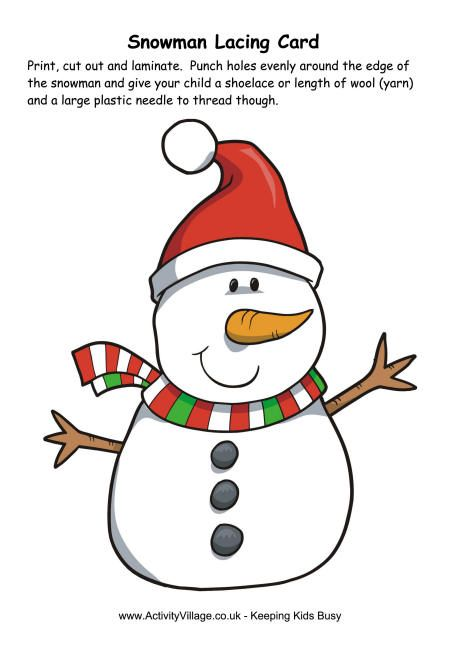 Snowman Lacing Card #prek activity for winter