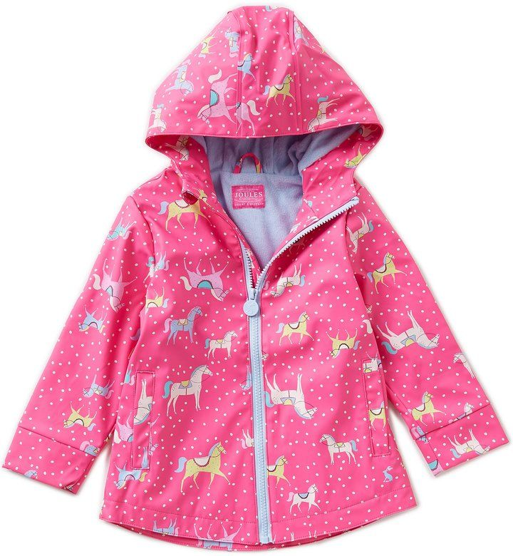 Joules Little Girls 1-6 Rain Dance Pony Print Rain Coat