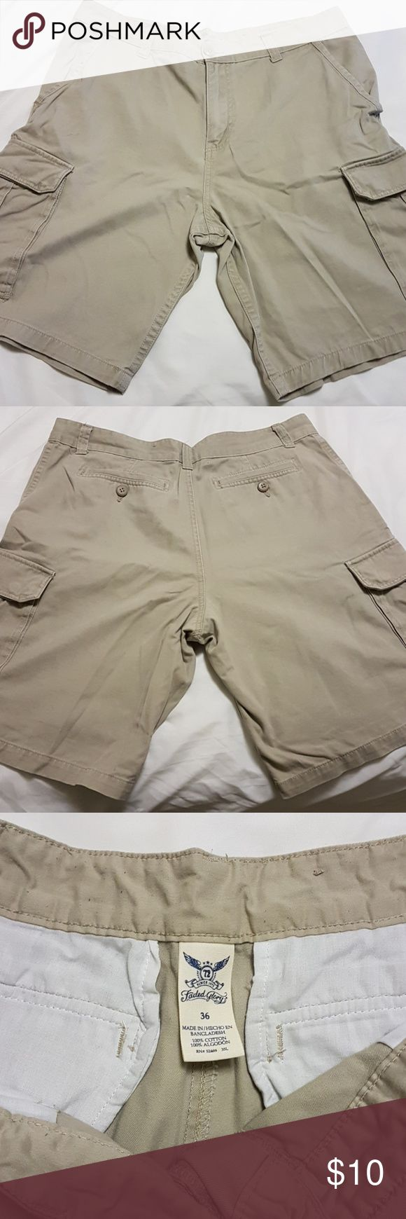Men's Shorts Mens Shorts Bundle. One pair has a small rip by the belt hole (pictured). All for $10. Smoke Free Home Faded Glory Shorts Cargo