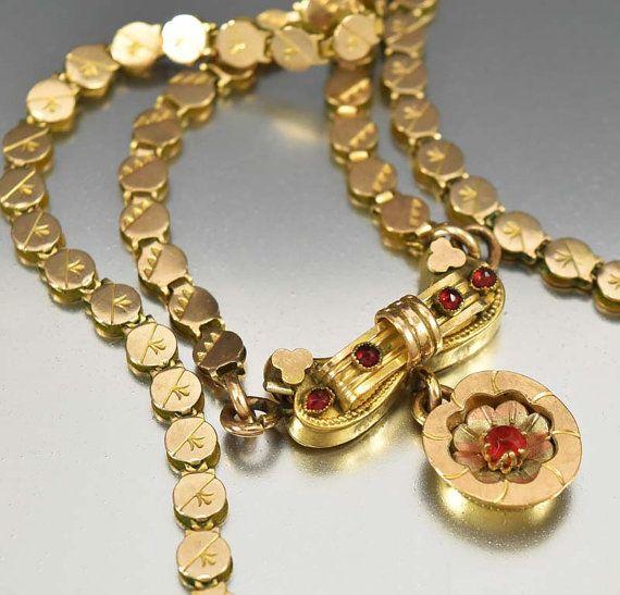 Libro collana vittoriana, granato collana in oro giallo, gioielli antichi, BookChain fascino collana, collana del trifoglio, vittoriano gioielli