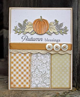 """Lovely """"Autumn Blessings"""" Card...with paper scraps and buttons...Larissa Heskett Designs-Introducing Autumn Borders."""