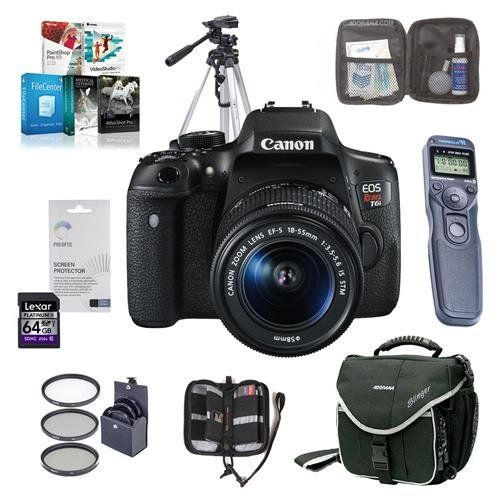 Canon EOS Rebel T6i DSLR Camera with EFS 1855mm f3556 IS STM Lens  Bundle wCamera Case 64GBClass 10 SDHC Card Filter Kit Cleaning Kit Tripod Remote Shutter Software Package and More -- AMAZON Great Sale
