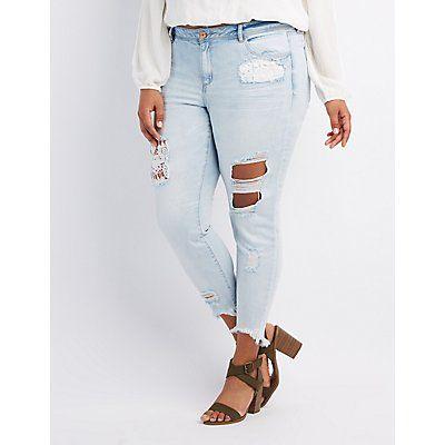 Plus Size Refuge Denim Skinny Crochet Destroyed Jeans - Size 24