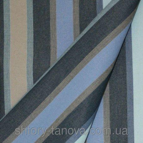 Дралон полоса синий/голубой/бежевый тефлон купить в интернет магазине тканей Танова - 111915560