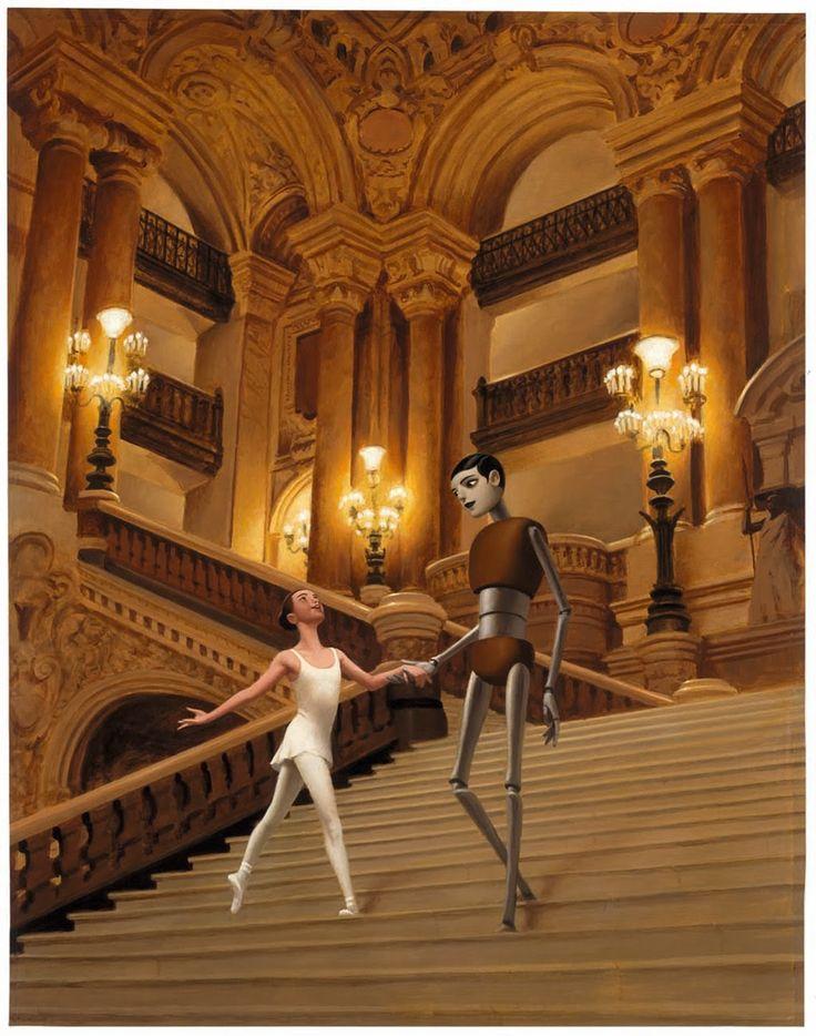 """François Roca illustration for """"Rose et L'Automate de L'Opera""""."""