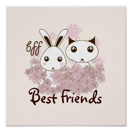 Cute Bunny and Kitten Cartoon Kids Best Friends Poster