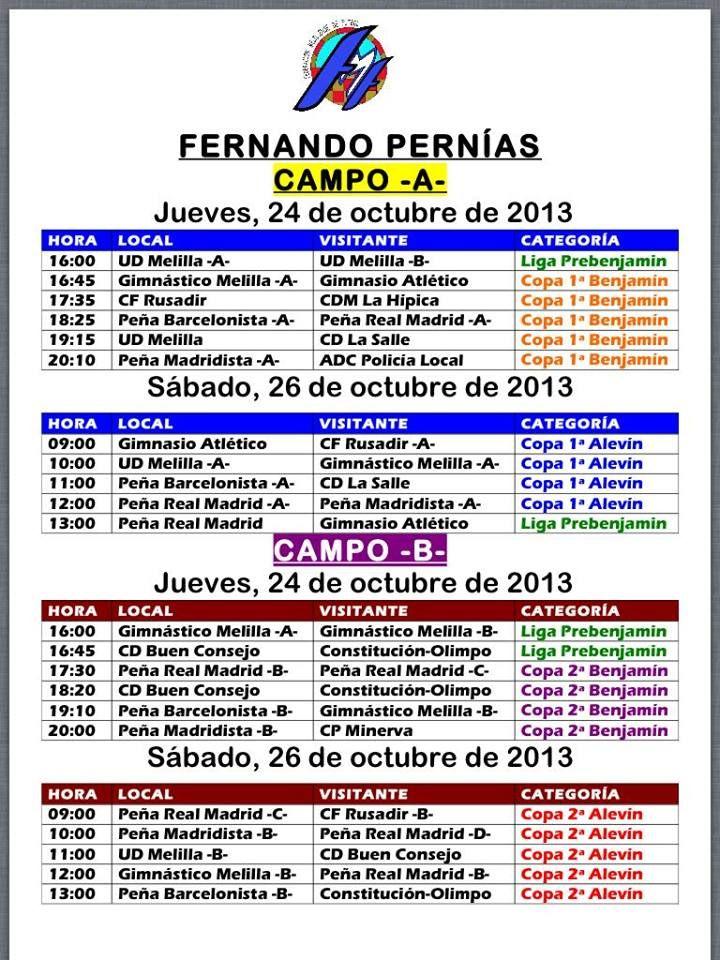 Calendario Futbol Base en el Campo del Tesorillo Fernando Pernias desde el 24 de octubre