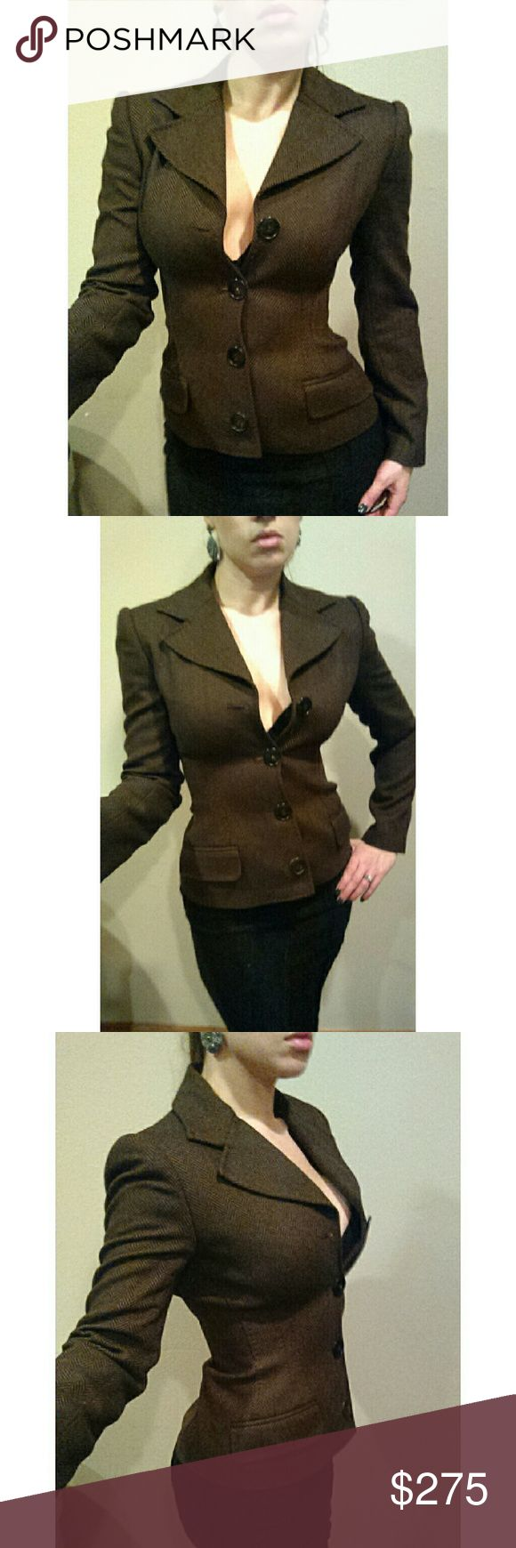 DOLCE GABBANA Brown Herringbone Fitted Blazer Stunning Dolce and Gabana blazer. Crafted in a luxurious brown wool herringbone pattern. Buttons up. Fully lined. Perfect with a pencil skirt or slacks for work. Chic and sophisticated.  Excellent condition.  Size 42. US 6. Runs a little small. Dolce & Gabbana Jackets & Coats Blazers