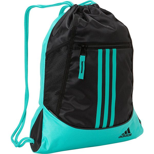 adidas Alliance II Sackpack ($18) ❤ liked on Polyvore featuring bags, backpacks, black, school & day hiking backpacks, black backpack, mesh bag, embroidered bags, rucksack bag ve stripe backpack