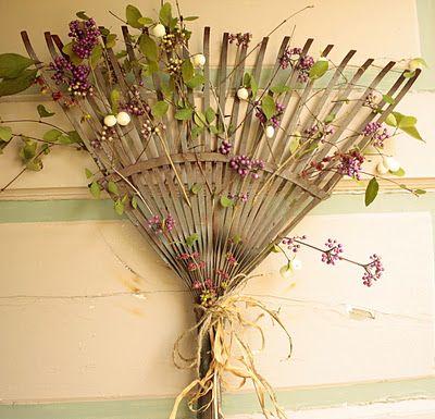 Use old rake for trellis...love this idea