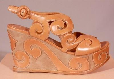Owned by Hot Celeb Prada Camel Leather Swirl Ultra High Platform ...