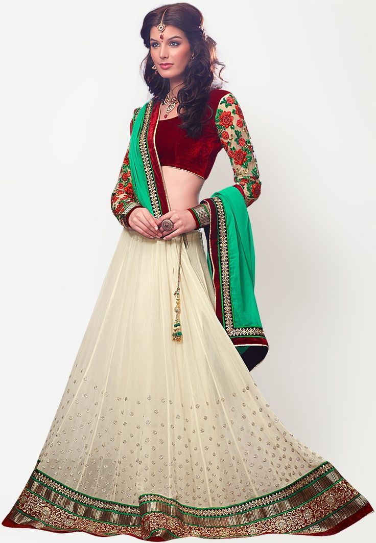 Off White Embroidered Lehenga at $402.42 (24% OFF)