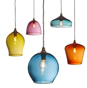 Above dining table x 5 - different colours, shapes and heights