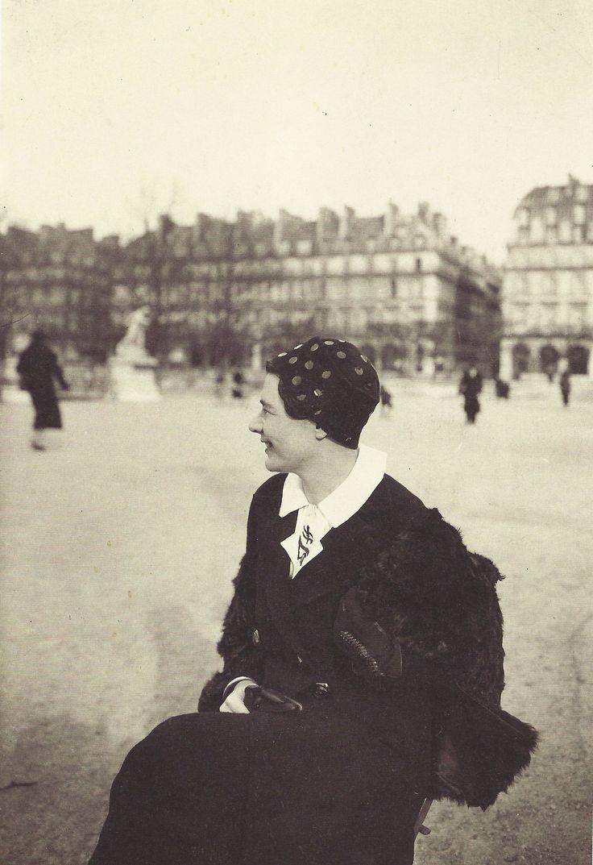 Marguerite Yourcenar, Jardin des Tuileries, Paris, février 1937 by Albert Harlingue