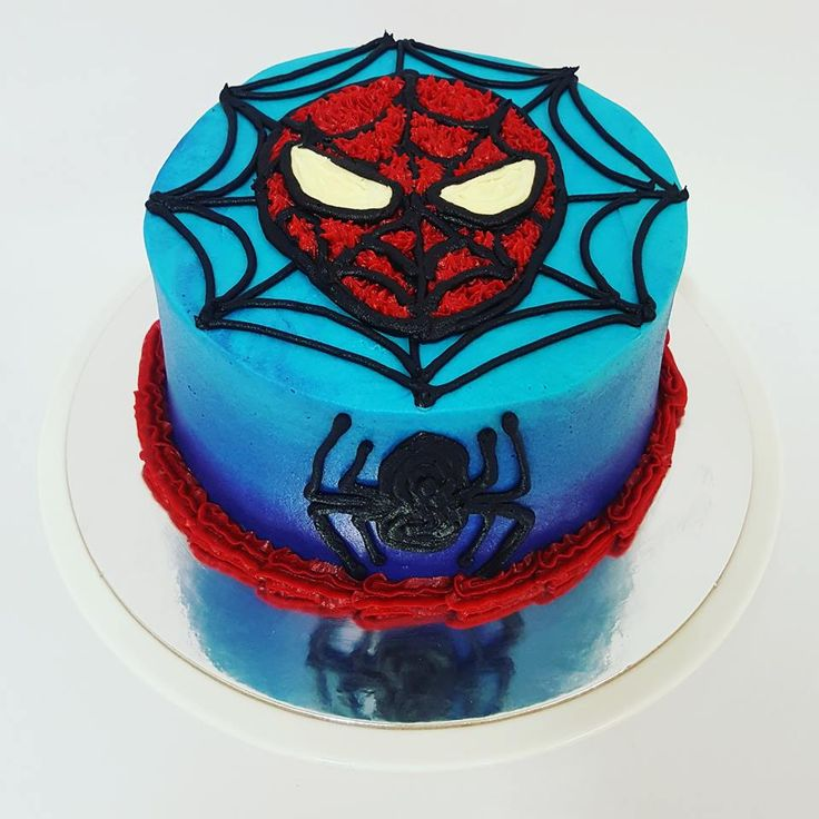 Smooth Blue Ombre with Spiderman Face and Web