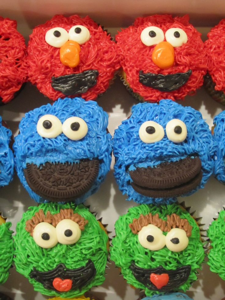 Elmo, Oscar, & Cookie Monster Cupcakes | cakes & cupcakes ...