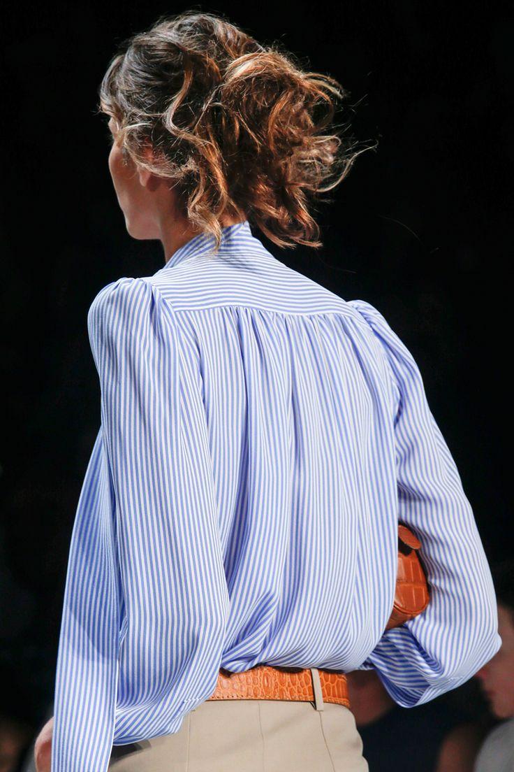 Blue & White Pinstripe Blouse   Michael Kors   Spring 2014   Vogue