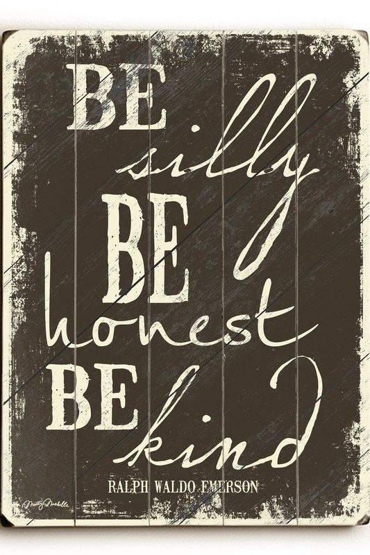 Be Silly Be Honest Be Kind Quote Distressed Wood Wall Art Ad