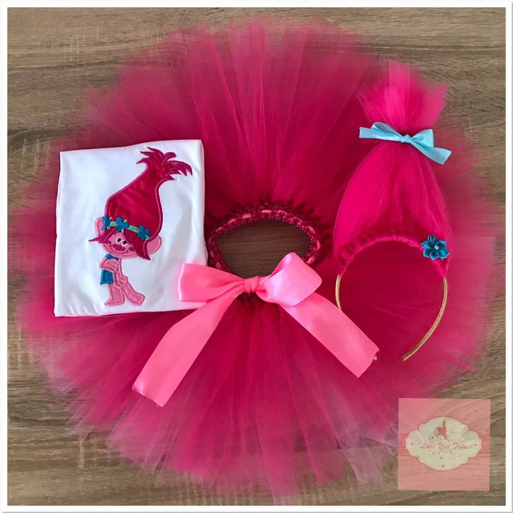 Embroidered Princess Poppy troll pink tutu set