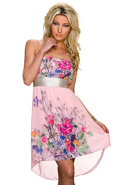 Vestido asimétrico palabra de honor cinturón plateado estampado floral tail hem   Rosa Pastel, Rosa Fucsia/Multicolor   Italy Moda