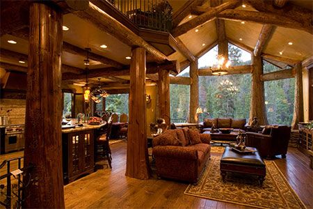 Log cabins with log post inside house post pictures for Log home interior designs