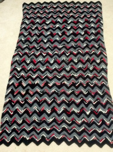 Afghan Pattern Blanket Throw Stripe Striped Red Black
