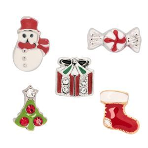 Holiday Charm Pack - Deck the halls with these colorful and fun charms! The Holiday Charm Pack includes: 1 Christmas Tree Charm, 1 Candy Charm, 1 Present Charm, 1 Stocking Charm, and 1 Snowman Charm. $12