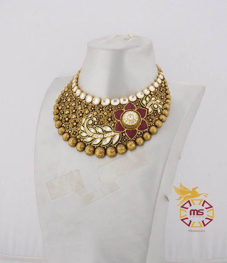 Let your soul enjoy the feel of jewellery offered by Motisons  Tag no. 3 B-5929 Weight-290.350 Description- Antique Polish,with Gold,Ruby & Kundan