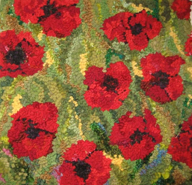 Hooked Rug: Poppies