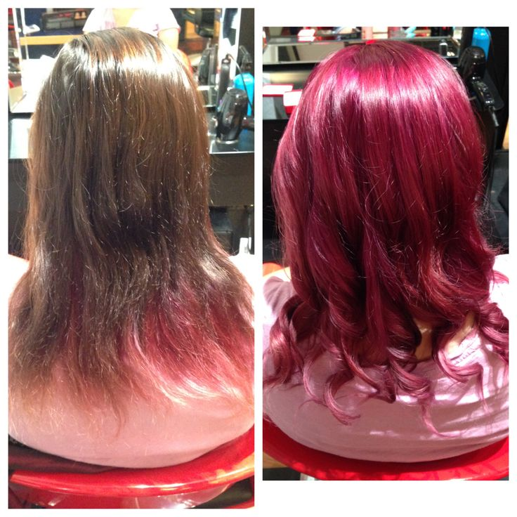 Before & After dark pink hair