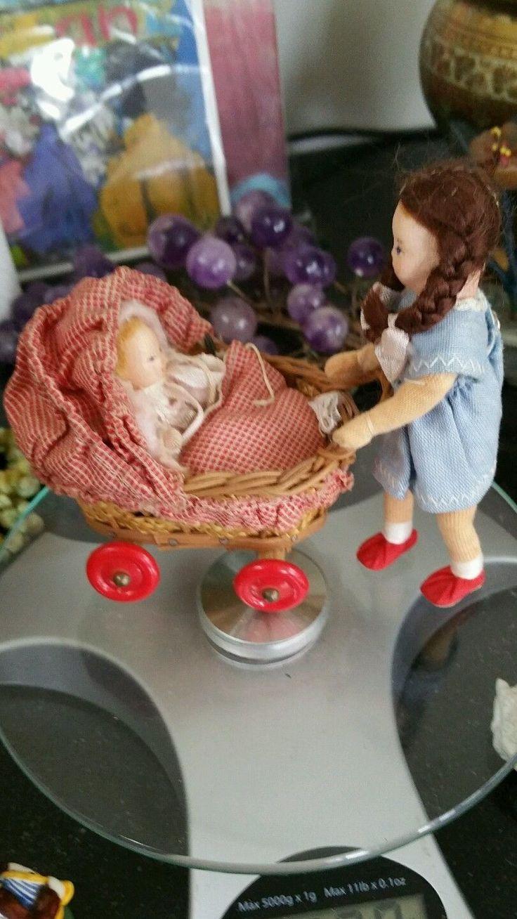 Two Cute Vintage Erna Mayer Dollhouse Dolls Plus Vintage Pram | eBay