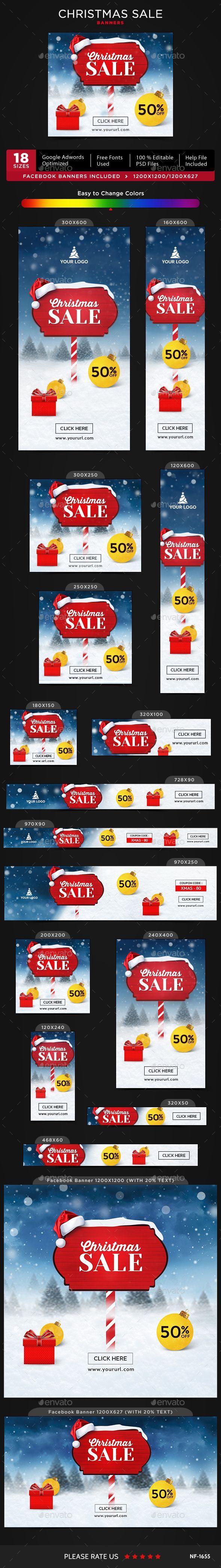 Christmas Banners Template PSD #ads #xmas