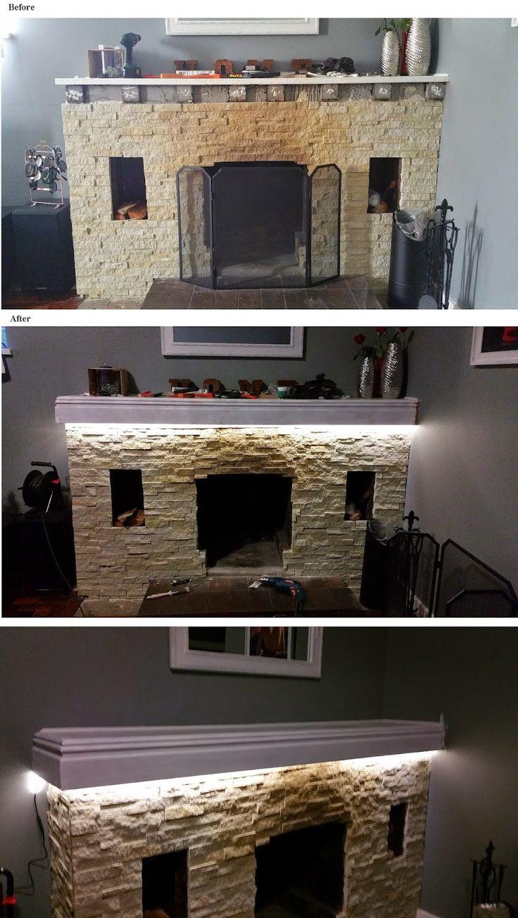 Fireplace DIY cladding & update (part 2) | Thimble CrackER painting, mantel, DIY, LED