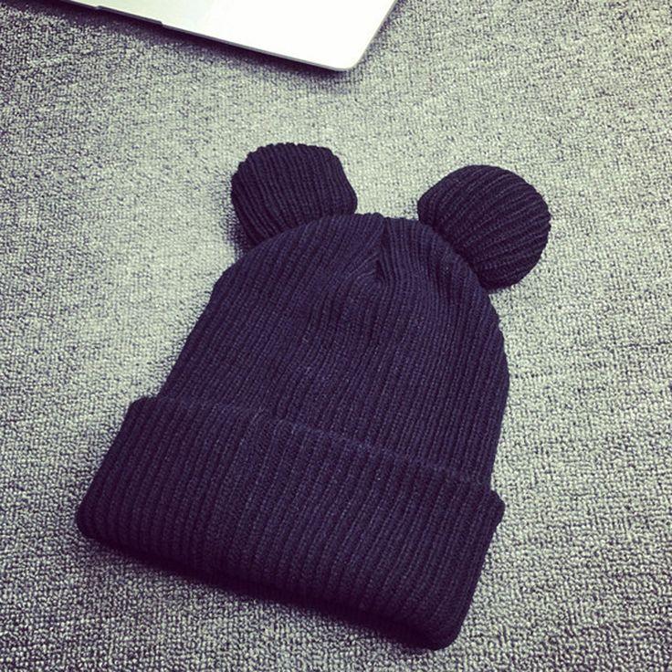 1Pcs Fashion Lovely Ear Beanie Caps Winter Hats For Women Warm Crochet Knitted Beanie&Skullies Hip Hop Hat Cap Gorro Feminino