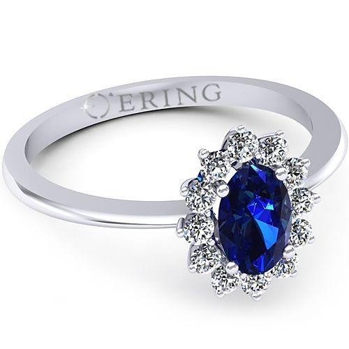 Inel logodna L34ASF Inel cu diamante si safir