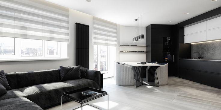 Elegant black and white apartment design... | Visit ; roohome.com  #apartment #design #decoration #elegant #fabulous #unique #simple #gorgeous #interior #creative #amazing #awesome