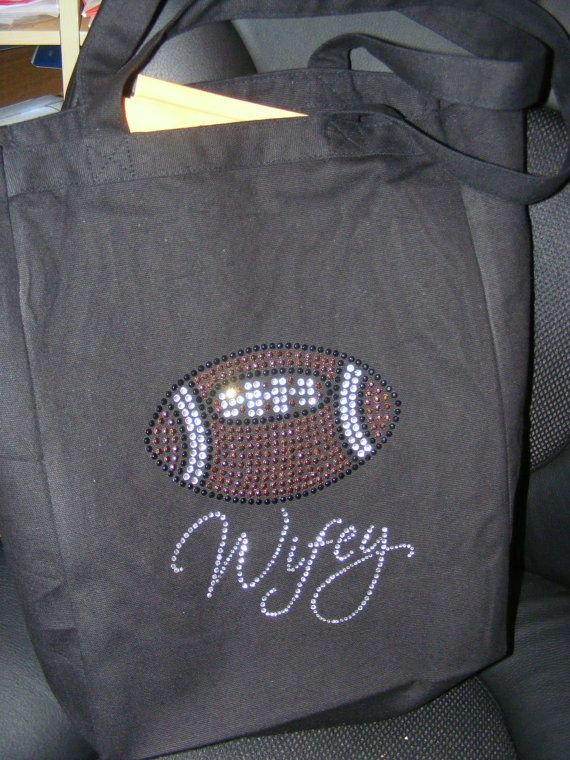 Jersey Style HA HA HA  Personalized Football Coach's Wife Wifey Basketball Soccer Crystal Rhinestone tote bag. $32.95 USD, via Etsy.