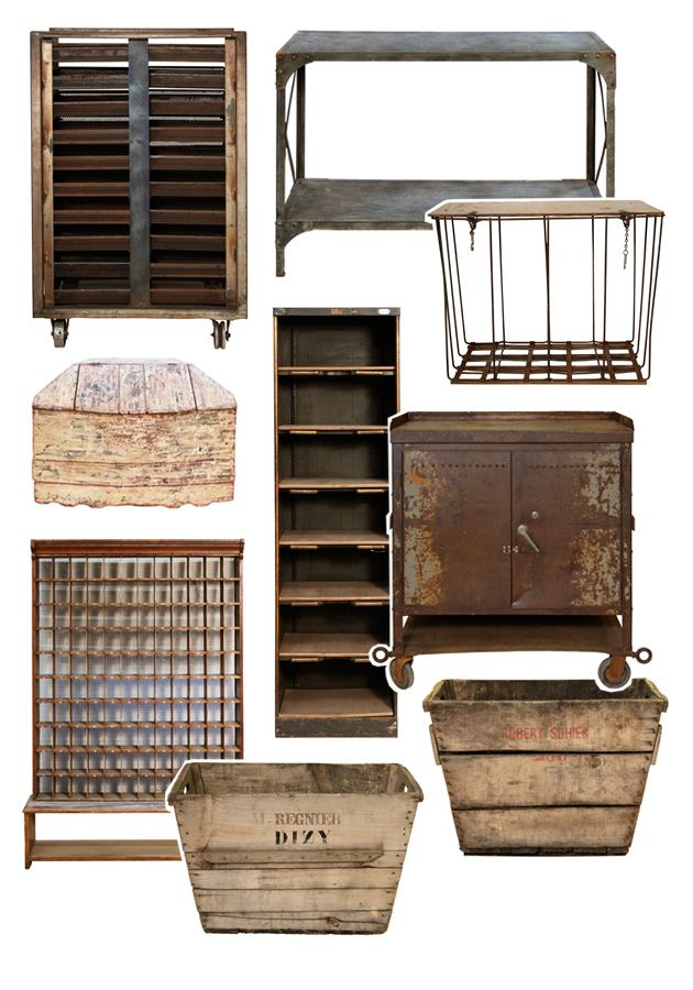 Expensive, but a good source for unique, industrial chic items -- http://reveal.abchome.com/industrial-vintage-2/