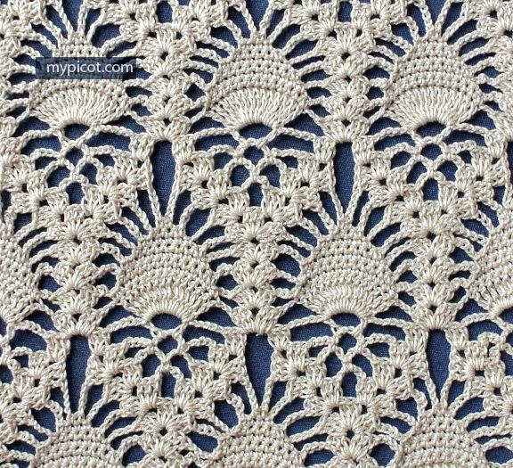 MyPicot | Free crochet patterns - lace pineapple crochet stitch