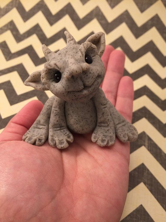 Little Baby Gargoyle Polymer Clay Sculpture by artbysarahprice