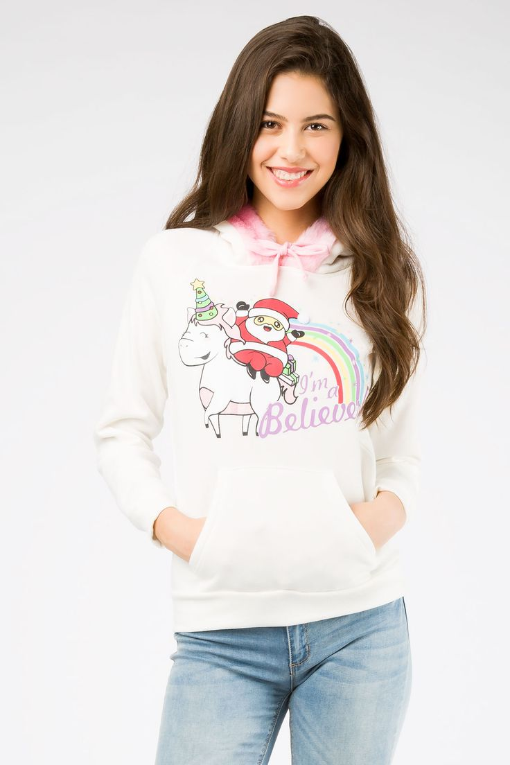 "Girls Santa ""I'm a Believer"" Unicorn Christmas Hoodie"