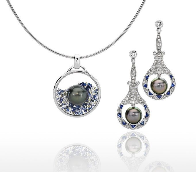 Left: Vetro pendant in 18ct white gold, with sapphires & diamonds encased in glass & a Tahitian pearl. Right: Tahitian Pearl & sapphire & diamond earrings